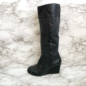 Lucky Brand Leather Over The Knee Wedge Boots